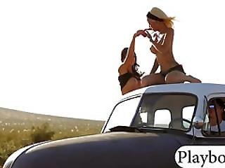 Hot Badass Girls Riding On The Roof Of Ratrods Naked