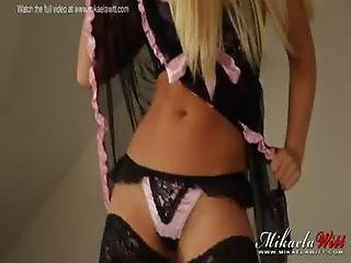 British Babe Mikaela Witt Babydoll Bedroom Strip Tease