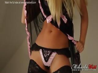 British Babe Mikaela Witt Babydoll Bedroom Strip Tease