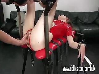 Fisting Her Loose Teen Pussy In Bondage