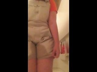 Young Teen Pisses Her Overalls