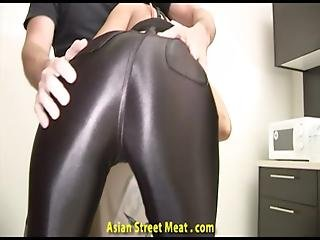 Throat Fucked Lycra Clad Asian Toy