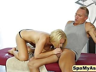 Pretty Blonde Fills Her Mouth With A Big Cock