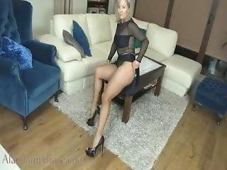 Ala In Black See Through Top With Skirt And Nude Pantyhose Upskirt