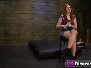 Wet Red Haired Slut With A Nice Huge Ass And Tits Chained Choked And Fucked Hard After Casting With A Red Ball In Her Mouth