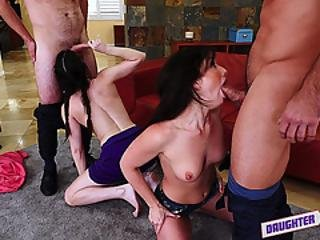 The Gals Are Down To Theor Knees And Sucking Their Dads Cock