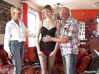 3p, 成熟した, 年寄り, 両親, ティーン, 3P