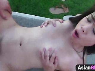 Asian Girl Rides Big Cock Outdoors.
