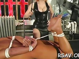 Dude Gets Bounded And Totally Mistreated By A Busty Domina