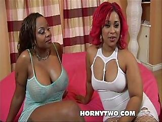 Ebony Babes With Big Tits And Big Asses Enjoy A Monster Cock In A Threesome