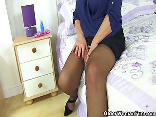 British Gilf Elle Feels Rather Aroused In Black Stockings And Loves Dildoing Her Shaven Fanny For You Bonus Video: Uk Nanny Zadi