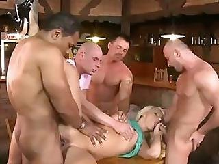 Mischel The Waitress Is All About Providing Top Notch Customer Service She S Always Very Open With The Clientele Open Mouth Open Pussy Open Asshole You Name It She Opens It Wide During This Nasty Five Way Fuckfest