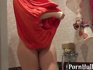 Skinny Girl Masturbates With Milk