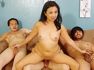Team Fucks Girl - Oriental Cougar Lucky Starr Takes On Three Younger Cocks