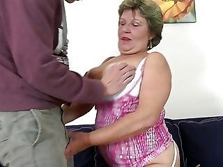 Real Granny Takes Young Boys Cock In Mouth And Pussy