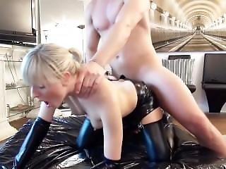 Naughty Blonde Hottie Fucked In Latex