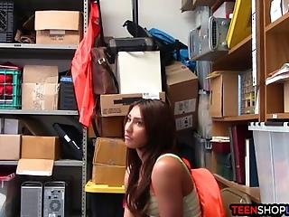 Jail Of Fuck For This Hot Teen Shoplifter Who Is Stuck In His Back Office Of The Store And Now Has To Make Some Choices
