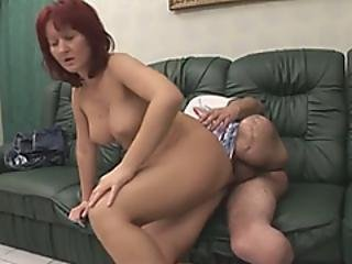 Busty Redhead Milf Riding Amputee Throbbing Boner