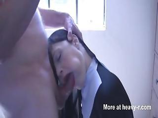 Sinful Nun Sucks Dick With Cum On Face