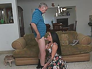 Kinky Brunette Teen Makes Out With Grandpa Before Sucking His Dick