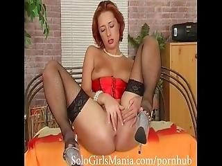 Redhead Teen Slut Masturbating With Black Dildo