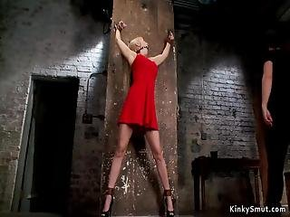 Tied Up And Gagged Big Tits Blonde In Tight Red Dress Trying To Escape Then Master Whips Her And Fucks With Black Dick On A Stick In Dungeon