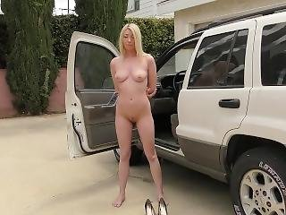 Enf Texting Blond Made To Strip For Cop