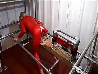 Rachelsexymaid - 34 - Dungeon Fuckmachine In Red Latex Catsuit