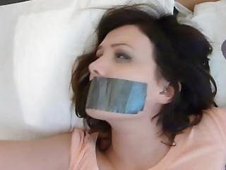 Hot Girl Tied To The Bed Tape Gagged And Struggling