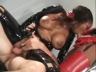 Busty Latex Ebony Ffm 3some