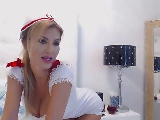 babe, teta grande, rubia, masturbación, enfermera, jugando, solo, jugetes, camara del internet, joven