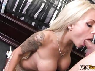 Tattooed Blonde Cougar Gets Fucked Hard
