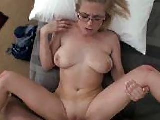 This Cute Blone With Glasses Loves Taking Cock