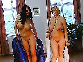 Two blondes asians one cock