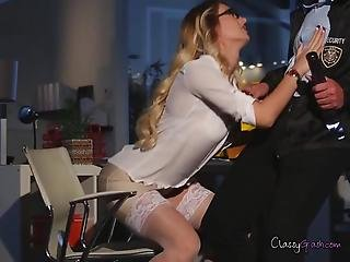 Blonde Natalia Plays With Office Security