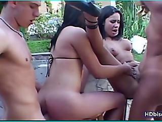 Bisexuel, à Quatre, Orgie, Shemale