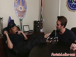 Babe Foot Worshiped In Police Outfit