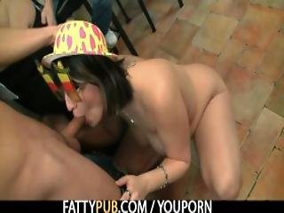 Chubby Party Girl Swallows Two Cocks At Once