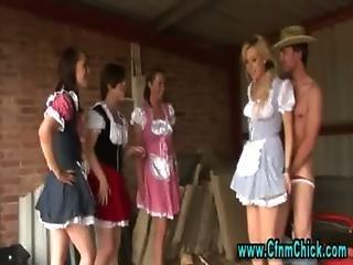 Cfnm Femdom Farm Girls Tugging Cock