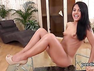 Exquisite Teenie Is Peeing And Masturbating Shaved Cunt