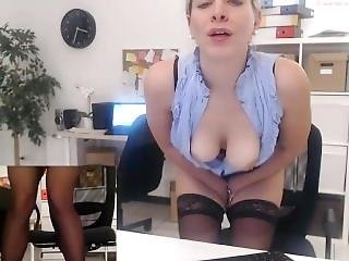 Au Travail, Gros Téton, Masturbation, Publique, Webcam, Au Travail