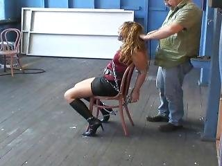 Cuffed To Chair And Panel Gagged