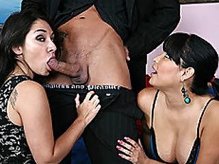 Breasty Latin Chick And Ally Share Jock For Specie