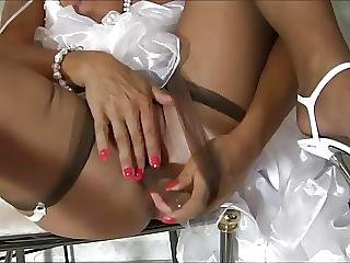 Bride, German, Masturbation, Nylon, Stocking