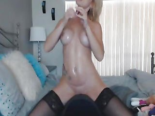 Huge Tits Blonde Babe Rides A Dildo