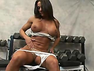 Busty Brunette Milf Kristine Madison Enjoys A Threesome Fuck In A Gym