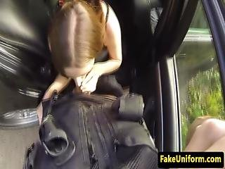 Real Brit Sucking Fake Coppers Cock In Car
