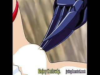Sexy Hentai Rubs A Cock With Her Lips