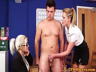 Cock Craving Cfnm Milfs Wanking Off Lucky Guy