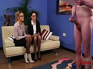 Two Cute Girls Watch Guy Squirt His Load